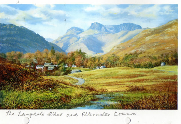 The Langdale Pikes and Elterwater Common, Lake District Painting